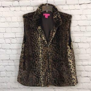 Betsey Johnson Leopard Print Faux Fur Vest Sz XL